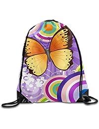 Preisvergleich für MaJack Rucksack mit Kordelzug, Schmetterlingsdesign, Bunte Blumen, lustig, für Reisen, Schulrucksack