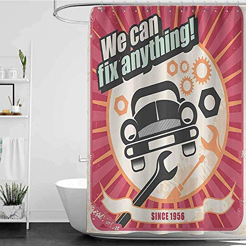Shower Curtains With Birds 1950s Decor Collection,Auto Service Retro Poster And Mechanic Transport Workshop Quotes We Can Fix Anything Design,Pink White W65 X L72,Shower Curtain For Kids 60X72 Inch