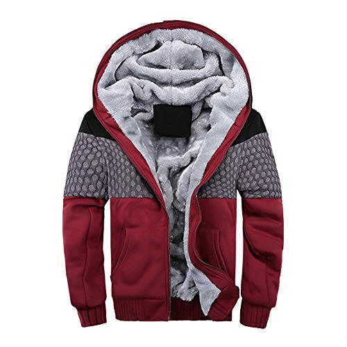 Sannysis Herren Jacke Herbst & Winter Langarm Übergangsjacke Hoodie Warme Fleece Zipper Pullover Outwear Mantel Tops Blusen