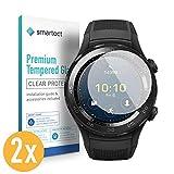 smartect Panzerglas für Huawei Watch 2 [2 Stück] - Bildschirmschutz mit 9H Härte - Blasenfreie Schutzfolie - Anti Fingerprint Panzerglasfolie