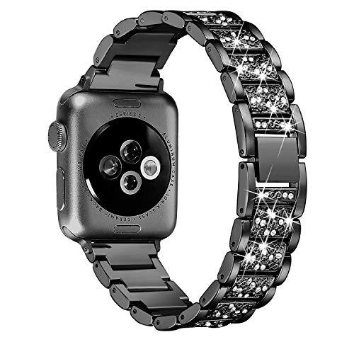 Ginamart Armband kompatibel mit Apple Watch Iwatch Band Serie 4 40 mm 44 mm Serie 3/2/1 38 mm 42 mm Damen Metall Edelstahl Schmuck Armband Armreif, Unisex, Black Bling, 42mm/44mm