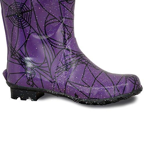 Donna Wellington Stivali Di Gomma Festival Alla Moda Floreale Impermeabile Stivali Scarpe Numero UK Viola Rete