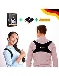Fitona Haltungstrainer - Geradehalter zur Haltungskorrektur – Einstellbarer Rückenstabilisator für Damen und Herren gegen Rücken- Nacken- und Schulterschmerzen - inkl. 2 GRATIS Pads + Fitnessband