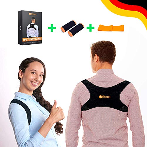 fitona Haltungstrainer - Geradehalter zur Haltungskorrektur - Einstellbarer Rückenstabilisator für Damen und Herren gegen Rücken- Nacken- und Schulterschmerzen - inkl. 2 GRATIS Pads + Fitnessband