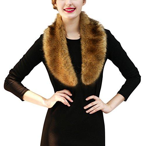 Ibaste sciarpa donna collo pelliccia sintetica inverno sciarpa per parka giacche e cappotto