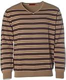 Signum Herren Pullover Strick V-Ausschnitt Merinowolle Streifen Brown L