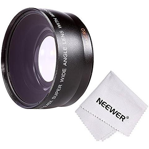 Neewer® 58MM 0.45 x Profesional HD Objetivo gran angular Wide Angle Lens (w / porción Macro) para Canon Rebel (T5i T4i T3i T3 T2i T1i XT XTi XSi SL1), Canon EOS (700 650 600 550D 500D 450D 400D 350D D 1100 100 D 60 300D); Nikon D3300 D3200 D3100 D3000 D5800 D5000 D5100; Pentax;SONY; Sigma y otra cámara con tamaño del filtro 58mm + paño de