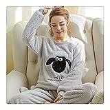 505a9d1ef9 Eairouquji Women's Pajamas Autumn and Winter Pajamas Set Women Long Sleeve  Sleepwear Flannel Warm Lovely Tops + Pants Sleep Pyjama Female CC Gray  Sheep XXL