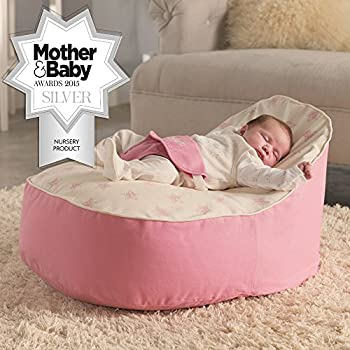 Baby Bean Bag Chair by Baby Buddy Toys | Pre Filled Snuggle Bed with 2 Removable Covers & Adjustable Harness - Grey & White for Kids Children Infants Newborn Unisex Boys & Girls.