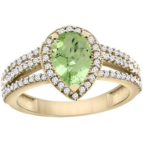 14ct de oro amarillo de 9 x 7 lazulí Natural anillo de Halo de diamante pera, Tamaños J - T
