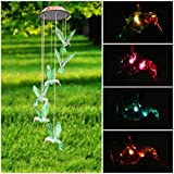 Color-Changing LED Solar Mobile Wind Chime, Pathonor LED Changing Light Color Six Hummingbird Wind Chimes For Home/ Party/ Night Garden Decoration red Color-Changing