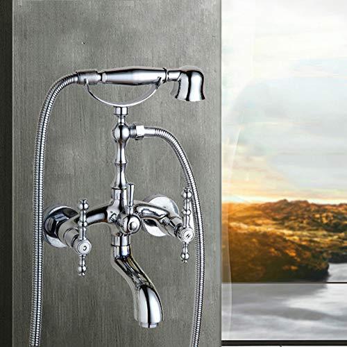 Poliert Wand Badezimmer Badewanne Mischbatterie Wasserhahn Dual Griffe Hand Regen Duschkopf Wasserhahn Dusche Set ()