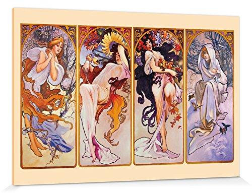 1art1 114773 Alphonse Mucha - Die Vier Jahreszeiten, 1896 Poster Leinwandbild Auf Keilrahmen 180 x 120 cm