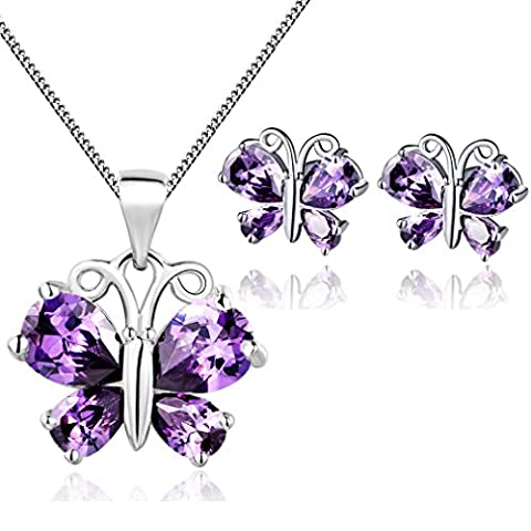 Ladies Purple Butterfly Sapphire Pendant Necklace and Earring Jewellery Set,Sterling