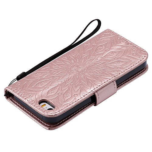 JIALUN-étui pour téléphone Pour Apple IPhone 5s SE Case, avec lanière, slot pour carte, support, boucle magnétique Sun Flower Flat Open Phone Shell ( Color : Brown ) Rose Gold