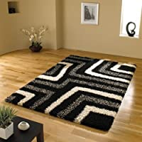 Very Large Quality Modern Design Shaggy Black Grey Rug in 160 x 230 cm (5'3'' x 7'7'') Carpet by AHOC