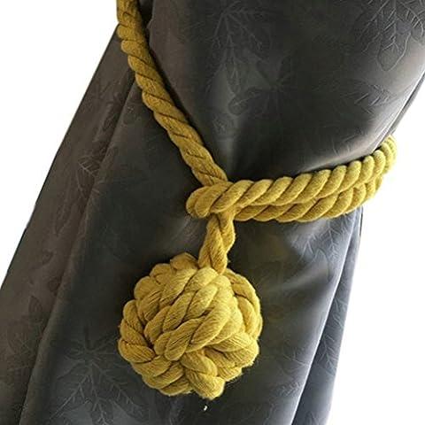 Pixnor Tenda maglia a mano Holder cotone cravatta corda (giallo)