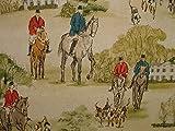 1m Pferd und Hounds Hunting Scene Vintage Vorhang Leinen Stoff Dekostoff Flip
