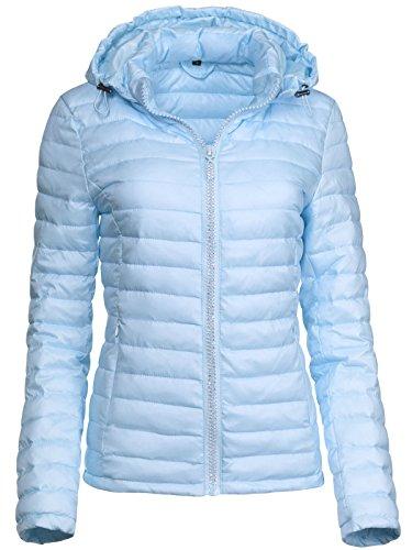 Trisens Damen ÜBERGANGSJACKE Strass Zipper Steppjacke FRÜHLINGSJACKE Jacke, Farbe:Hellblau, Größe:L - Jacke Strass