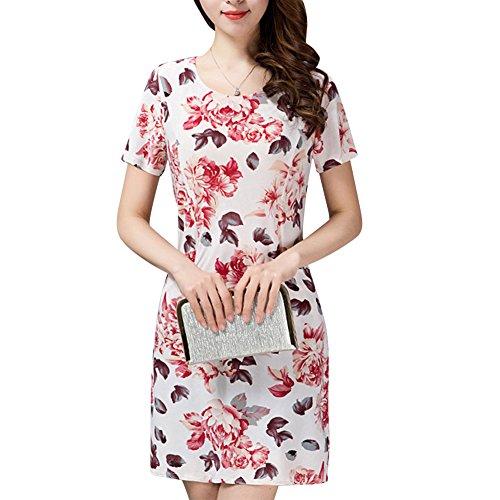 Damen Sommerkleider Bedruckt Ausgestellt Swing Kleid Damen Kurze Ärmel Franki Skaterkleid Plus Größe Farbe 13