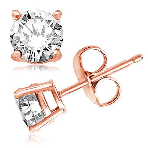 Rosa ha placcato Argento Sterling 9 millimetri rotonda Cubic Zirconia gemma Orecchini - Rosa Ha Placcato Argento