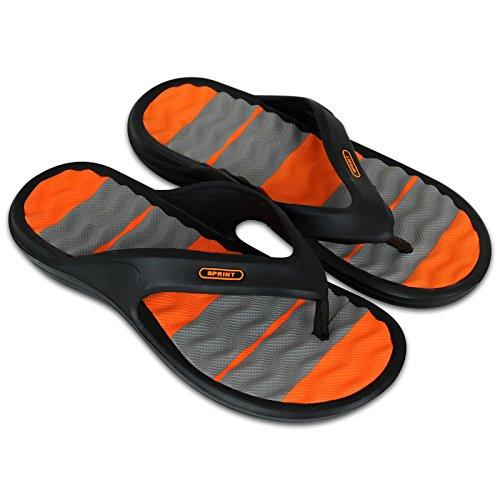 Unbekannt Saunaschuhe - Badeschuhe - Badelatschen - Flip Flops - Herren mit Farbauswahl … (41, schwarz/orange)