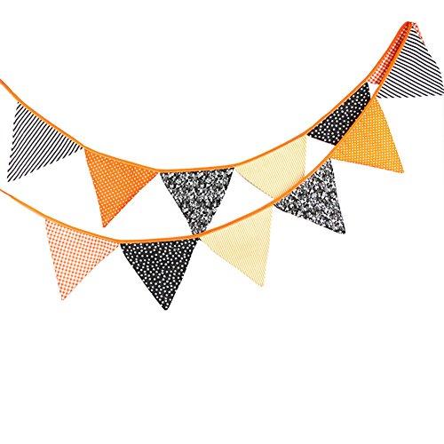 lkette mit 12 Wimpel Baumwolle Fahnen Banner Länge 3.2m Schwarz Orange Halloween Party Dekoration ()