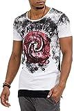 trueprodigy Casual Herren Marken T-Shirt mit Aufdruck, Oberteil cool und stylisch mit Rundhals Ausschnitt (Kurzarm & Slim Fit), Shirt für Männer Bedruckt Farbe: Weiß 1073129-2000-XL