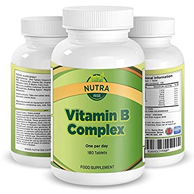 Vitamin B Complex, High Strength Supplement, Contains All 8 Vitamins: B1, B2, B3, B5, B6, B12, D-Biotin & Folic Acid, B Complex Will Increase Energy & Combat Fatigue, 6 Month Supply - 180 tablets from Nutra Rise