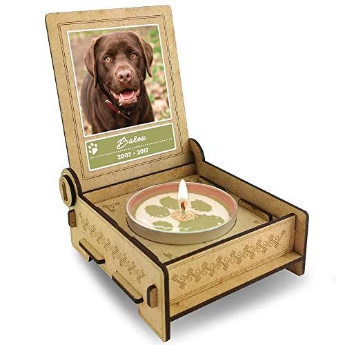TROSTLICHT | Trauerkerze Hund | personalisiert mit Foto & mit Namen | Holz-Box mit Spruch & Pfote | Abschied Hund | Hund Erinnerung | Verlust Hund (Spruch Engel)