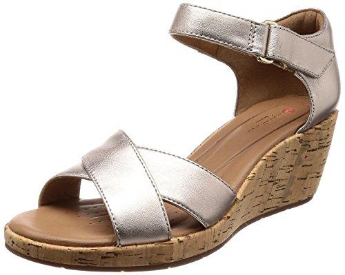Wedges Clark Schuhe (Clarks Damen Un Plaza Cross Riemchensandalen, Gold (Gold Metallic), 39 EU)