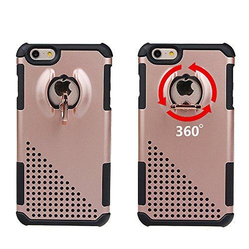 """xhorizon MW8 Drehend Metallring Kickstand Doppelschichtkasten Hybrid Hochleistung Stoßfester Absorption Schützend Case für iPhone 6 Plus/ iPhone 6S Plus [5.5""""] Schwarz Mit einem 9H gehärtet Glasfilm"""