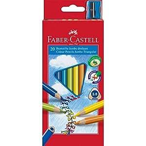 Faber-Castell 116520 Crayons de couleur triangulaire Jumbo avec Taille-crayon (Lot de 20)