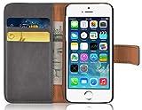 JAMMYLIZARD | Ledertasche Retro Wallet Hülle für iPhone 5 / 5s und iPhone SE, GRAU