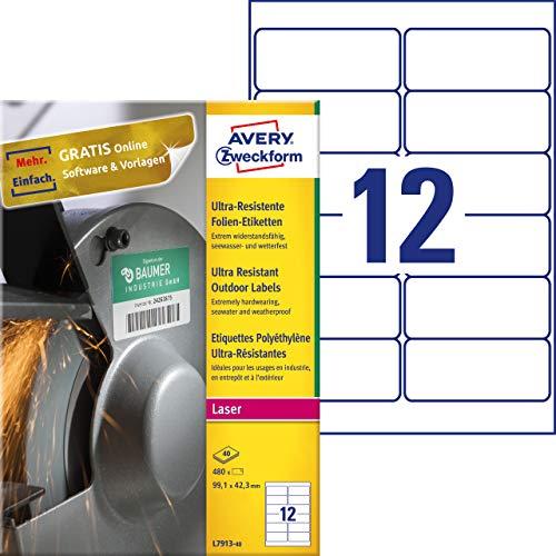 Avery Zweckform L7913-40 - Etichette in pellicola (A4, 480 adesivi, ultra resistenti, 99,1 x 42,3 mm), 40 fogli, colore: Bianco