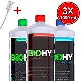 BIOHY Profi Starter Reinigungsmittel-Set mit Dosierer (3 x 1 L) - WC, Fenster und Boden - Ökologisch und Veganes Reinigungsmittel für nachhaltige Reinigung