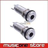 #8: 2 Pcs Chrome Threaded Cylinder output Input Guitar Bass Jack Plug Socket 1/4