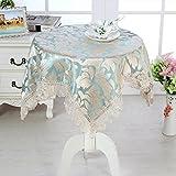 HHCQY Spitze Quadratische Tischdecke, Wohnzimmer Kaffee Tischdecke Couchtisch Tischset Nachttisch Kühlschrank TV Abdeckung Tuch (Farbe : Blau, Größe : 125CM*125CM)