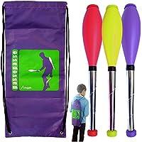 PassePasse Kit de 3 Clubs de malabarismo perpetuos Malabarismo 5 a 9 Años, DE 45 cm de Color Rojo, Amarillo, Púrpura Mochila +