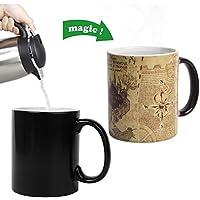 zhiwenCZW Mapa Taza Que Cambia de Calor Sensible Cambio de Color Taza de café de cerámica