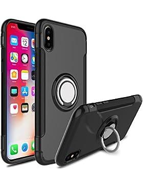 Funda iphone X,Soporte de Anillo 2 en 1 PC+TPU protección Funda Case Cover con Sorporte con Rotatorio de Agarre...