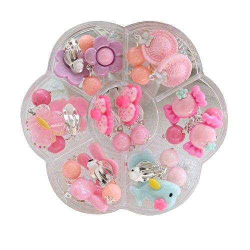 nge Box Set Clip auf Ohrringe Geburtstagsgeschenk für Mädchen Dress-up, 7 Paar (Kinder-clip Auf Ohrringe)