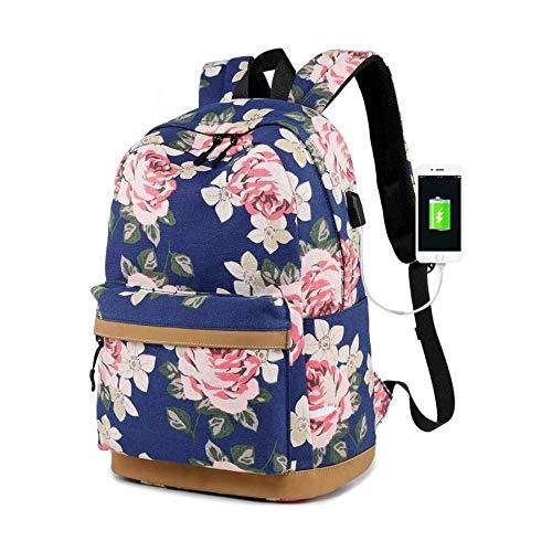 ZFLL Schultasche Frauen Vintage Blumendruck Rucksack Frauen Schultaschen KinderBlumentascheSchulrucksäcke für Mädchen im Teenageralter Bookbag-in Schultaschen von Luggage & Bags (Lila Rucksack Von Under Armour)