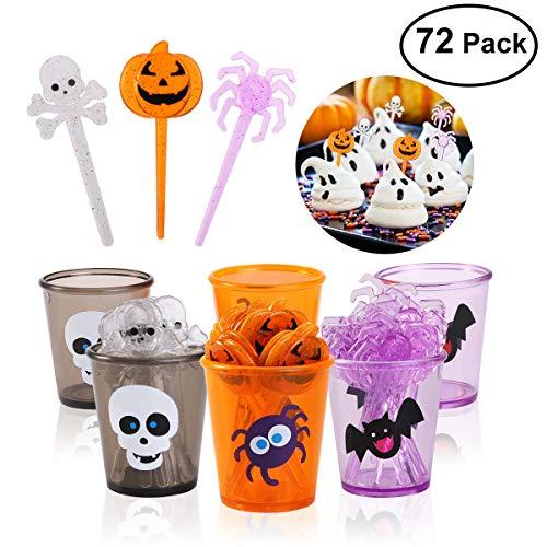 (PBPBOX 72 Packung Halloween Essens Spießchen auflagen mit Glitzerspinnen, Kürbis Schädeldesign)