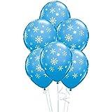 5x Globos de Copos de Nieve Invierno Color Azul- 28cm - Hechos de Qualatex