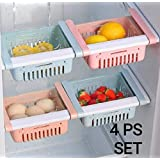 OSLEN Fridge Space Saver Organizer Slide Storage Rack Shelf Drawer, Fridge Storage containers for Vegetables, Fridge Storage Racks, Fridge Storage Boxes (Pack of 4)