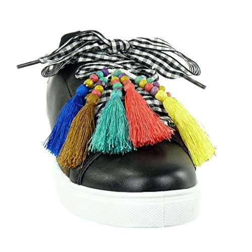 Angkorly - damen Schuhe Sneaker - Tennis - band - Fransen - fantasy flache Ferse 2.5 CM Schwarz