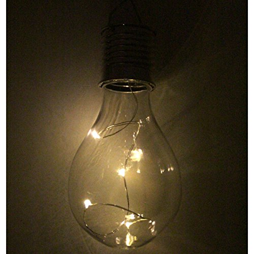 LED Solar 6er Set Glühbirnen leuchtende Glühlampen warmweiß Gartendeko