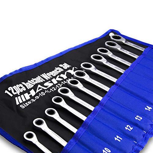 12-Tlg. Ratschenschlüssel-Set 8-19mm Gabelschlüssel Ratschen-Schlüssel-Satz Maulschlüssel