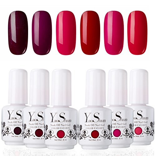 YaoShun Soak Off Gel Nail Polish Sets 6 Colours Red Wine Series UV LED Gel Polish Set 8ml Kit#006